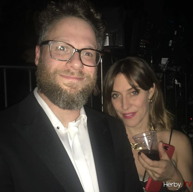 Ran into Seth Rogan and Feist backstage. They both gave Funny and very touching performances . He red a beautiful poem and she sang that's n